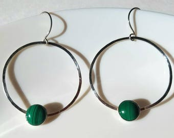 Sterling silver malachite hoop earrings