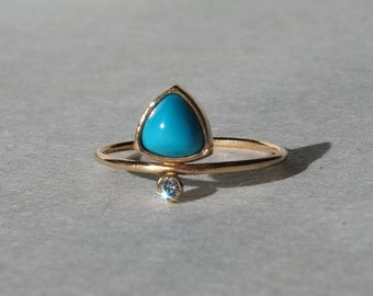 Handmade 14k gold genuine trillion genuine American turquoise and natural diamond ring, size 6.5