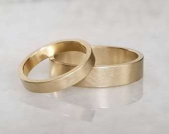Brushed 14k gold wedding band, wedding ring, satin wedding ring