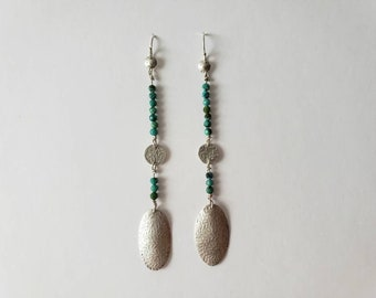 Silver Ferns and Turquoise Beads Long Dangle Earrings