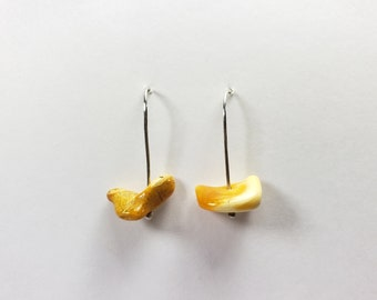 Sterling silver hook earrings with amber nuggets