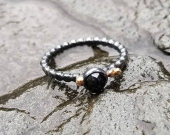 Unique oxidized sterling silver rose cut black spinel ring with 14k gold accents, size 6.75