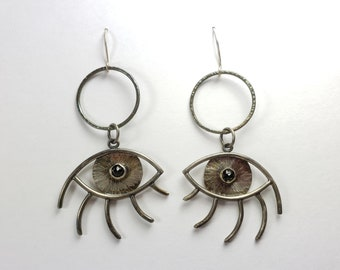 Large Sterling Silver and Black Spinel Mystic Eye Earrings