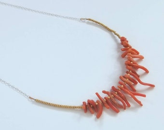 Unique vintage coral and sterling silver necklace