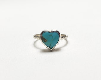 Handmade Small American Turquoise Heart Sterling Silver Pinky Ring, Subtle Dot Texture Band Size 4.5
