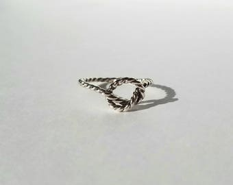 Knotted sterling silver rope ring, size 7