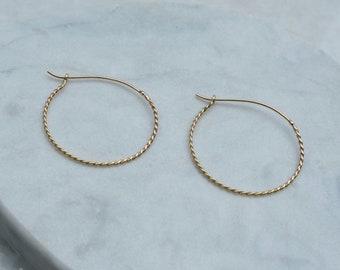Medium Whisper 14k Gold Rope Delicate Hoop Earrings