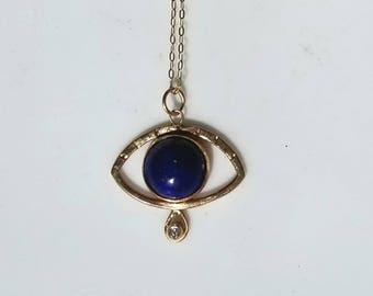 Unique 14k gold lapis lazuli and diamond eye talisman pendant