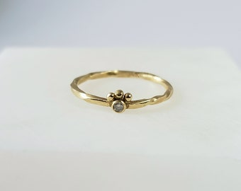 Unique 14k Gold Crowned Genuine Diamond Ring, Baby Diamond Ring, Twisted Band, Handmade Size 6.5