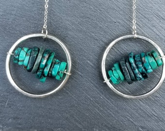 Super dangly unique sterling silver and turquoise hoops