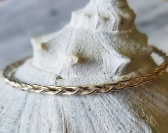 Unique hand braided sterling silver bangle