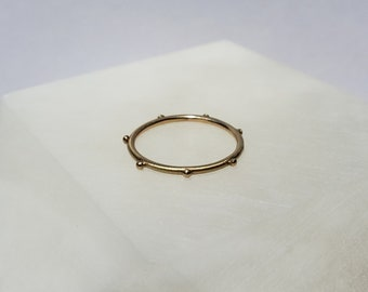 Dainty 14k Gold Dot Brushed Ring, Thin Satin Band, Handmade Size 6.75