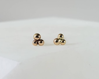 Three Iota 14k Gold Cluster Dot Studs, Handmade Post Earrings