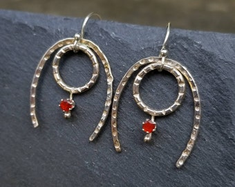 Sterling silver and opal horseshoe earrings