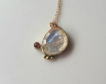 Dainty 14k gold moonstone  and garnet pendant