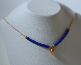 14k gold chain with tiny Japanese beads necklace with gold pear dangle