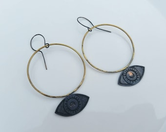 I See You etched copper, brass and silver unique earrings