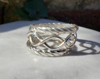 Unique Twisted Stacking Ring Set, Size 7.5