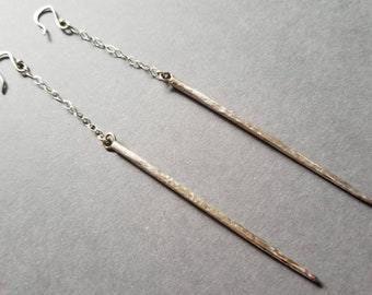 Long Sterling Silver Spike and Chain Dangle Earrings