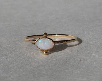 Delicate 14k Gold Genuine  Australian Opal Ring with Hammered Band and Granule Accents, Handmade Ring with October Birthstone, Size 6.5