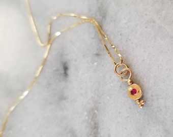 Unique 14k Gold Petite Ruby Tiny Treasure Pendant, Solid Granulated Pebble Necklace, Ooak
