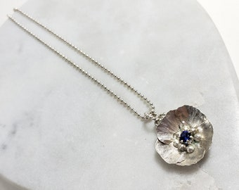 Unique Delicate Sterling Silver and Sapphire Flower Pendant