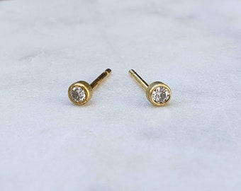 14k Gold 2mm Petite Bezel Set Conflict Free Diamond Studs, Handmade Post Earrings