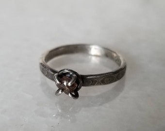 Unique handmade sterling silver mystic eye ring with claw set raw diamond, size 6.75