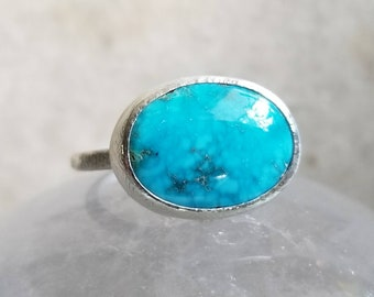 Sky blue turquoise ring, size 7