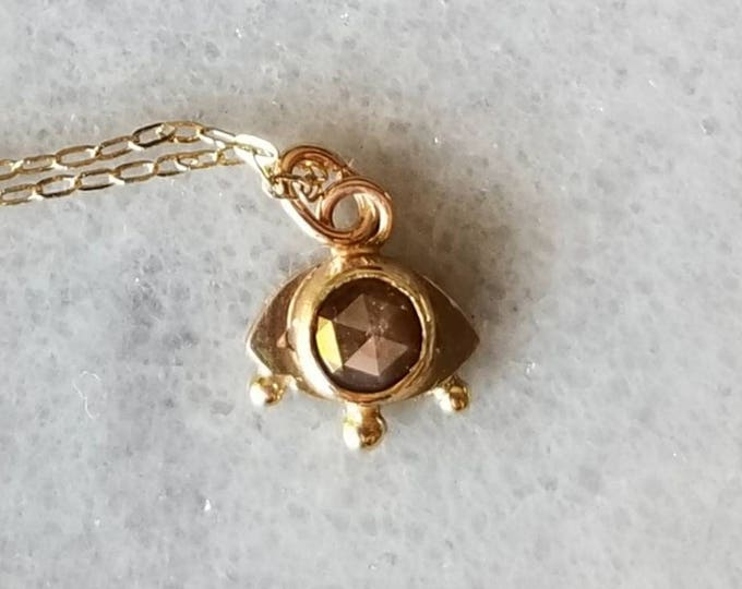 Featured listing image: 14k gold and rustic rose cut diamond mystic eye pendant