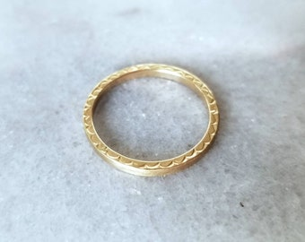 Satin 14k gold sqare band, hand stamped ring, size 6.5