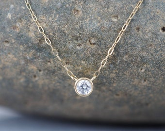 14k Gold Genuine Conflict Free White Diamond Solitaire Pendant, Delicate Diamond Necklace