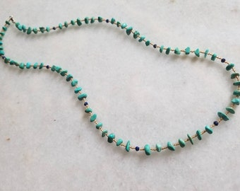 Beaded necklace with turquoise and lapis lazuli