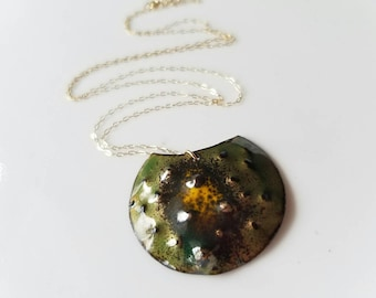 Unique enameled natural form pendant on a delicate 14k gold chain