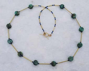 Long African turquoise and brass necklace