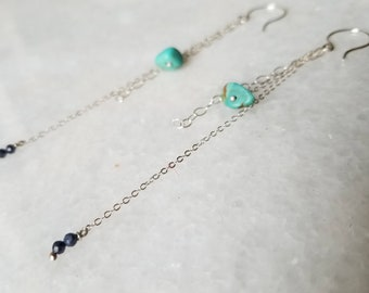 Unique dangly sterling silver chain, turquoise and sapphire earrings