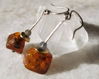 Unique sterling silver earrings with amber nuggets, labradorite and brass beads