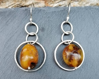 Sterling silver hoops with amber earrings