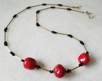 Handmade organic red coral, beaded layering necklace