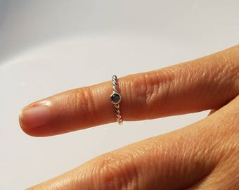 Tiny moonstone ring, size 1.5