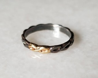 Oxidized sterling silver and 14k gold braid band, size 7