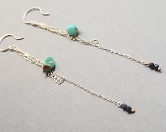 Unique Long Sterling Silver Chain, Turquoise and Sapphire Dangle Earrings