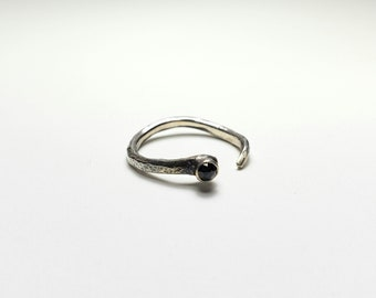 Handmade Snake, Hammered Sterling Silver and Black Spinel Ring, Adjustable Size 6-7