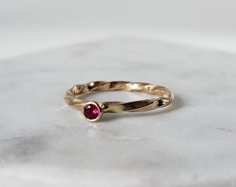 14k Gold Heavy Twisted Natural Ruby Ring, Handmade Genuine Ruby Band, Size 6.5, July birthstone jewelry