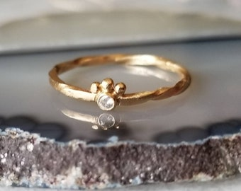 Unique 14k gold crowned diamond ring, baby diamond ring, size 6.5