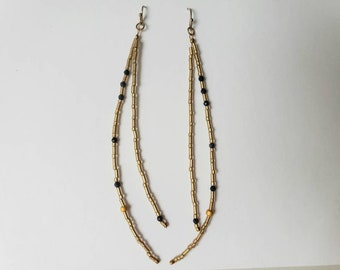 Sapphire and Gold Glass Long Dangle Earrings