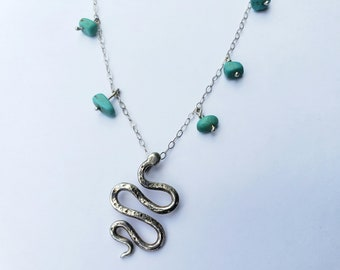 Sterling SilverSnake Pendant with Genuine Turquoise Nugget Dangles