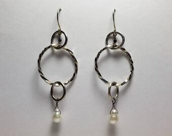 Sterling Silver Multi Hoop Earrings with Pearls and Sapphires