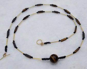 Unique Extra Long Tiger's Eye, Brass and Japanese Beads Necklace