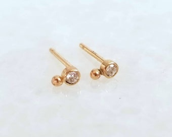 Petite 14k gold 2mm diamond orbit stud earrings